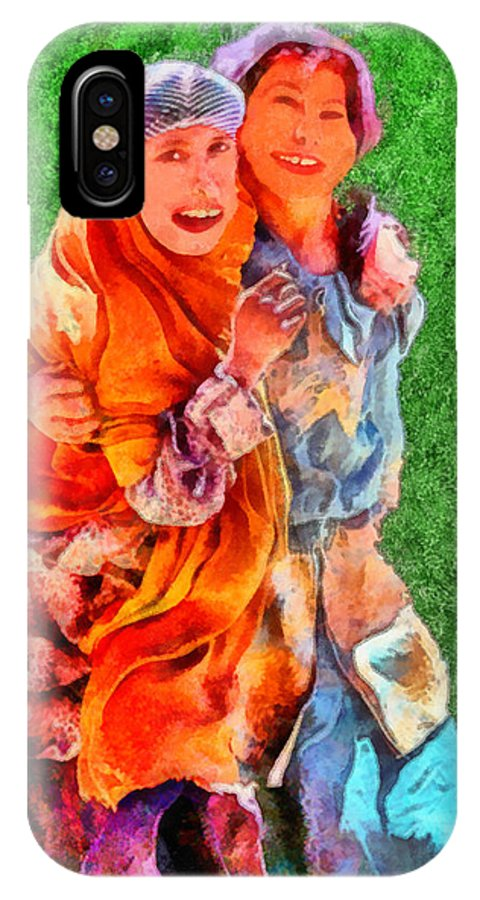 Rossidis IPhone X Case featuring the painting Two Girls by George Rossidis