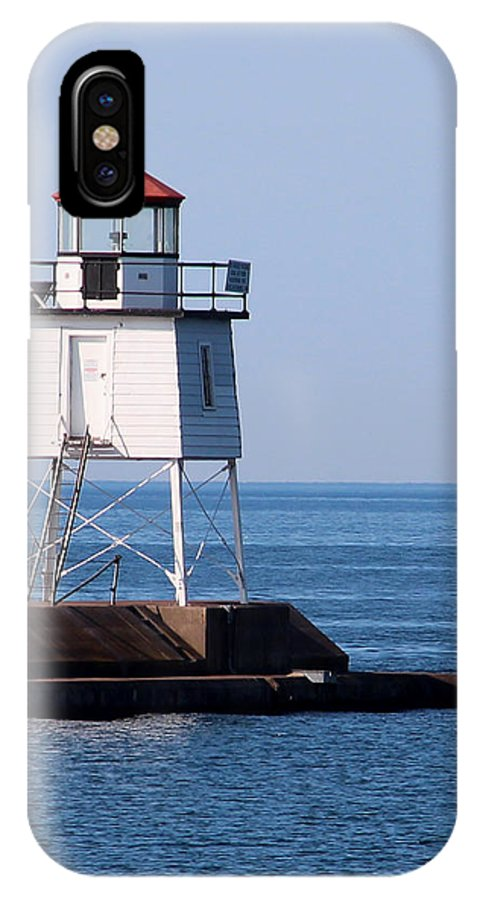 Light IPhone X Case featuring the photograph Two Harbors Breakwater Lighthouse by George Jones