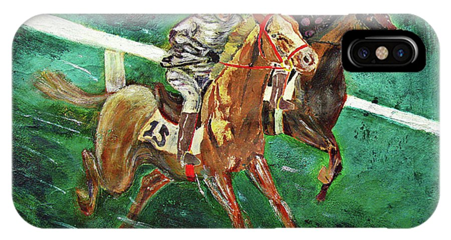 Horse IPhone X Case featuring the painting Two Horse Race by Tom Conway