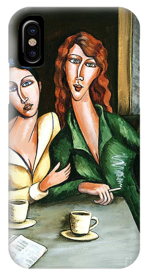 Acrylic IPhone X Case featuring the painting Two Lesbians In A Paris Cafe by C Turner