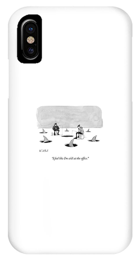 Cctk Ice Fishing IPhone X Case featuring the drawing Two Men Ice Fishing by Will McPhail