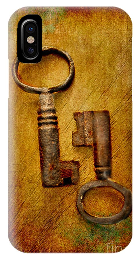 Still Life IPhone X Case featuring the photograph Two Old Keys by Brian Raggatt