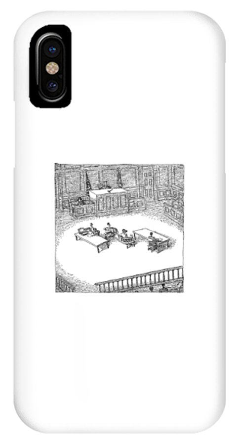 Chairs IPhone X Case featuring the drawing Two People Sit On A Modern-looking Curved Bench by John O'Brien