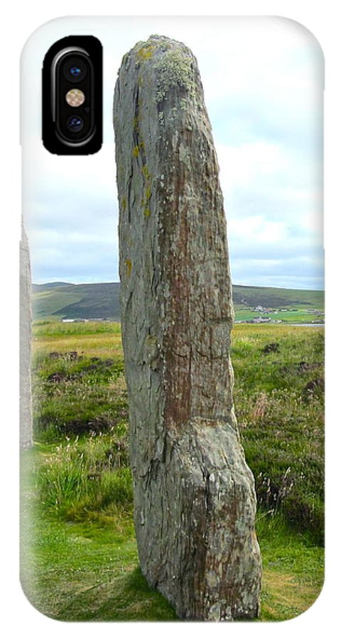Ring Of Brodgar IPhone X Case featuring the photograph Two Ring Of Brodgar Stones by Denise Mazzocco