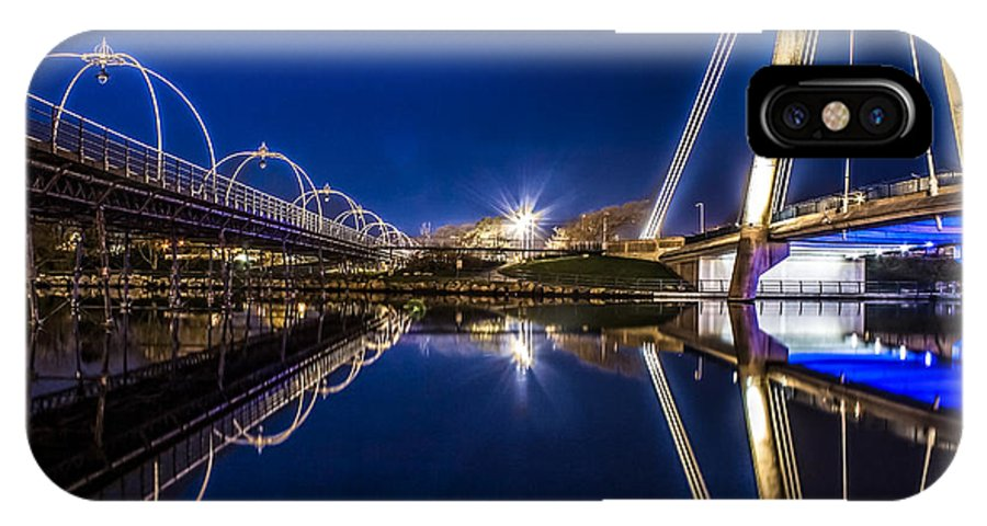 Bridge IPhone X Case featuring the photograph Two Southport Bridges by Paul Madden