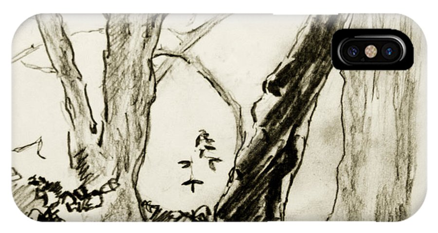 Drawing IPhone X Case featuring the painting Two Tree Drawing by Alan Hopwood