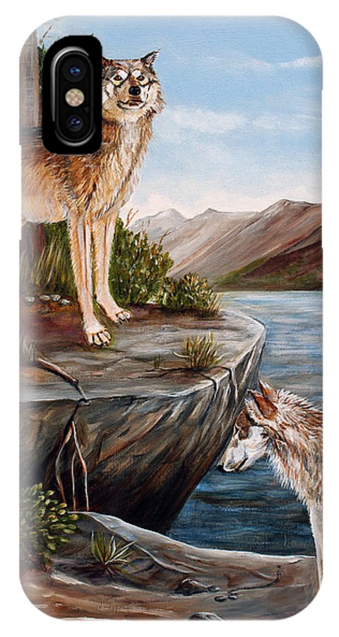 Wolves IPhone X Case featuring the painting Two Wolves by Dorothy Riley