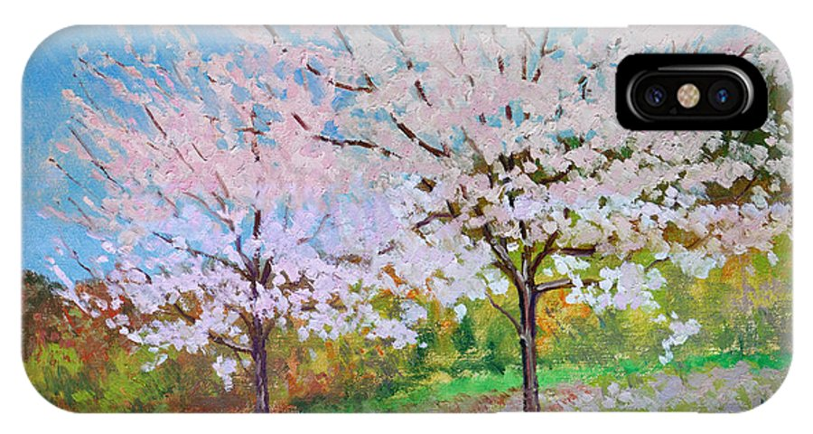 Landscape IPhone Case featuring the painting Two Yoshinos by Keith Burgess