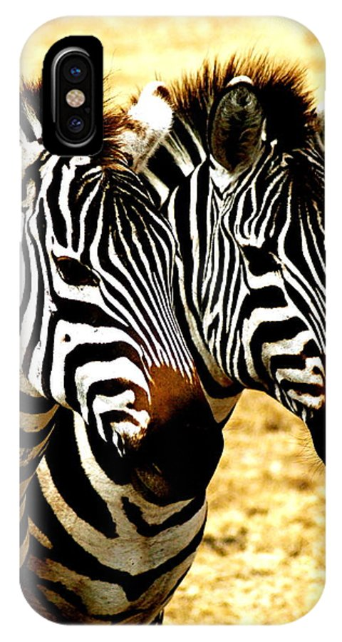 Zebras IPhone X Case featuring the photograph Two Zebras by Marc Levine