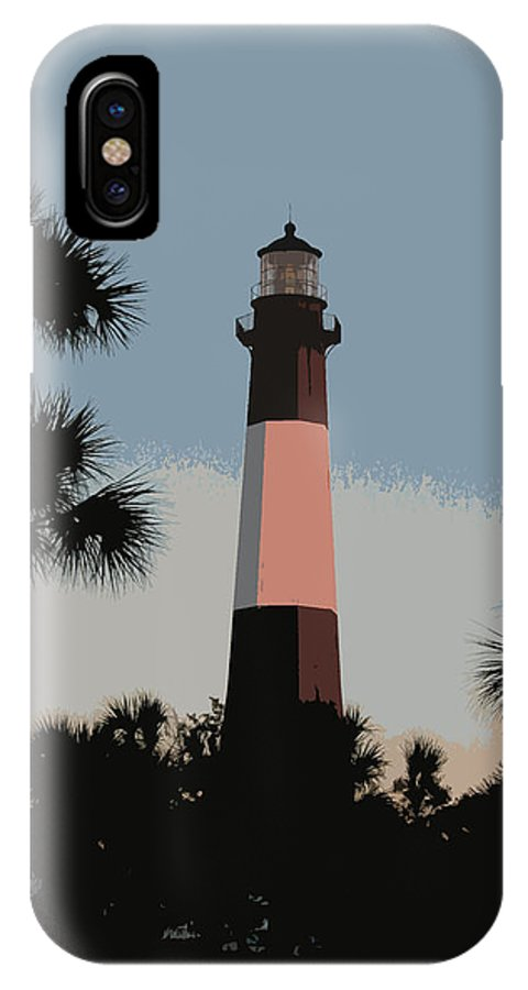 Tybee IPhone X Case featuring the digital art Tybee Light At Dusk by Rhodes Rumsey
