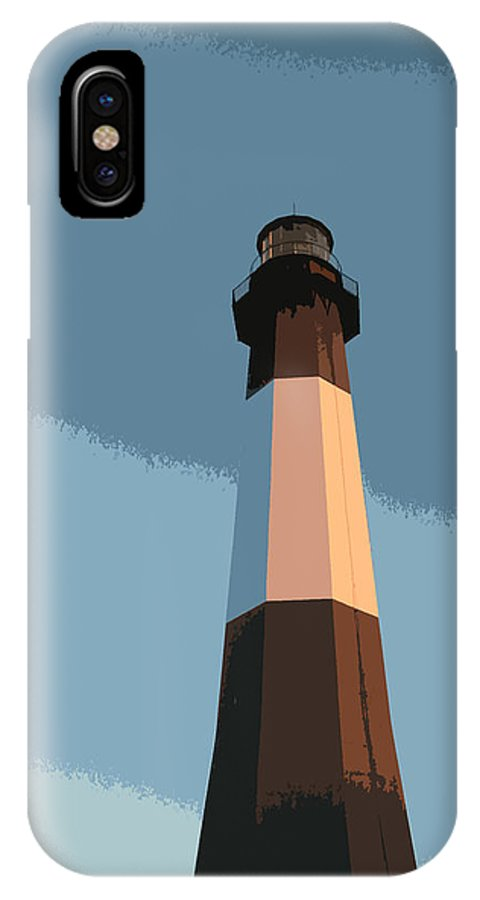 Tybee IPhone X Case featuring the digital art Tybee Lighthouse Sunset by Rhodes Rumsey