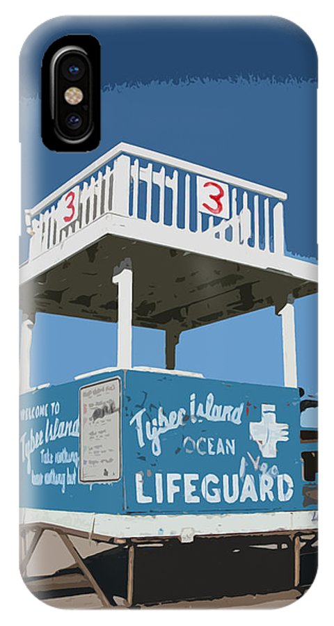 Tybee IPhone X Case featuring the digital art Tybee Third Street Lifeguard Stand by Rhodes Rumsey