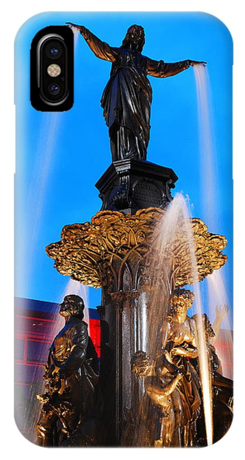 Tyler IPhone X Case featuring the photograph Tyler Davidson Fountain by James Kirkikis