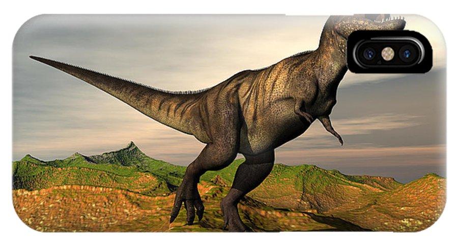 Dinosaur IPhone X Case featuring the digital art Tyrannosaurus Rex Dinosaur Walking by Elena Duvernay