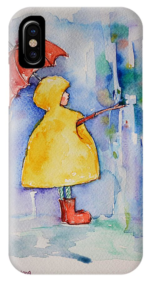 Watercolor IPhone X Case featuring the painting Umbrella Boy II by Mikyong Rodgers