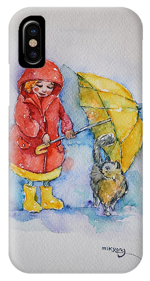 Umbrella IPhone X Case featuring the painting Umbrella Girl With A Kitty by Mikyong Rodgers
