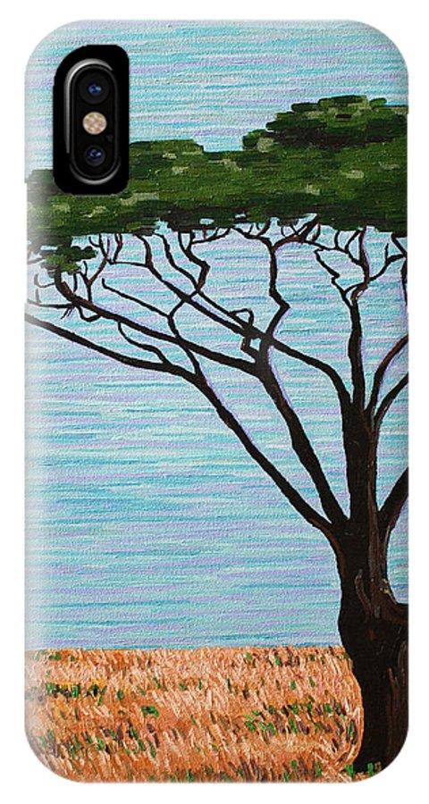 Umbrella Tree IPhone X Case featuring the painting Umbrella Tree by Bridget Brummel