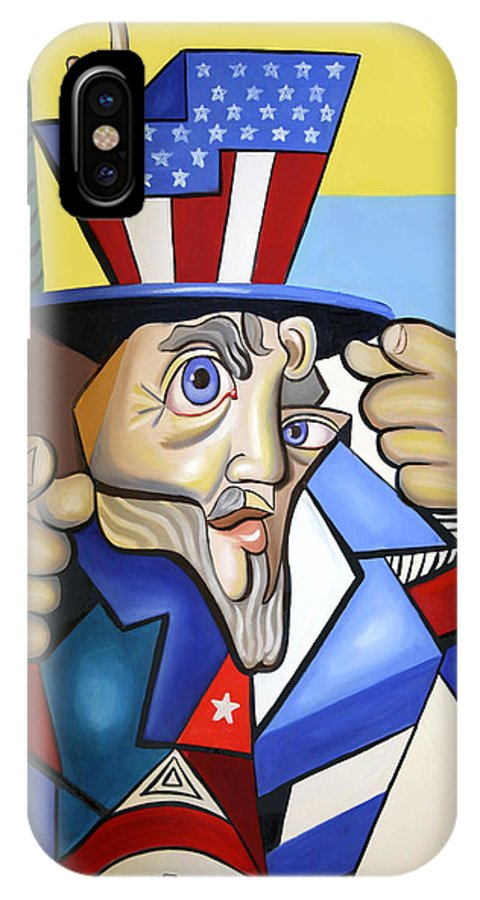 Uncle Sam 2001 IPhone X Case featuring the painting Uncle Sam 2001 by Anthony Falbo