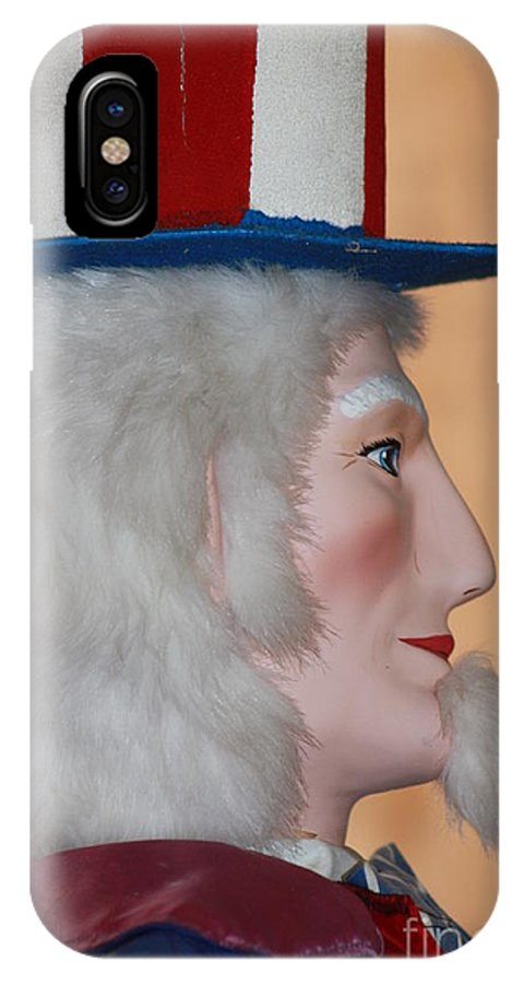 Unclesam IPhone X Case featuring the photograph Uncle Sam Closeup Red White And Blue by Robert D Brozek