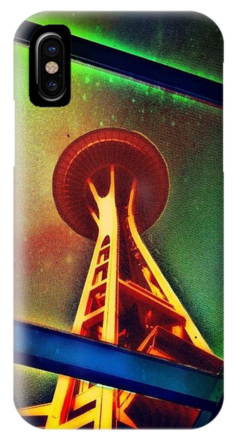 Space-needle IPhone X Case featuring the photograph Underneath The Space Needle by Eddie G
