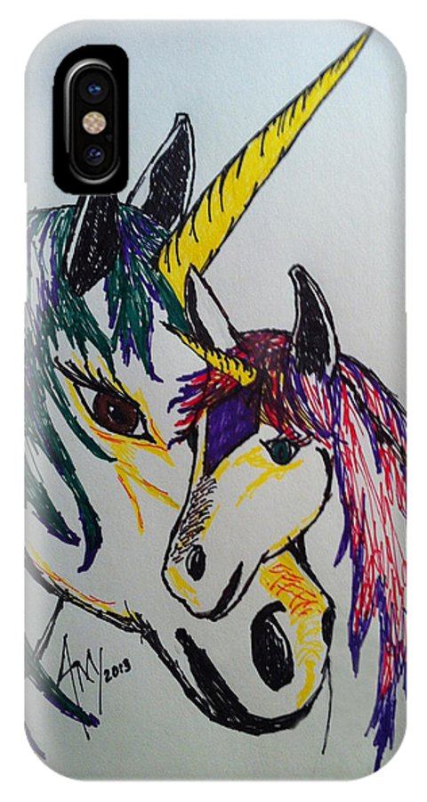 #marker Drawing #unicorn IPhone X Case featuring the drawing Unicorn by Amy Fyffe