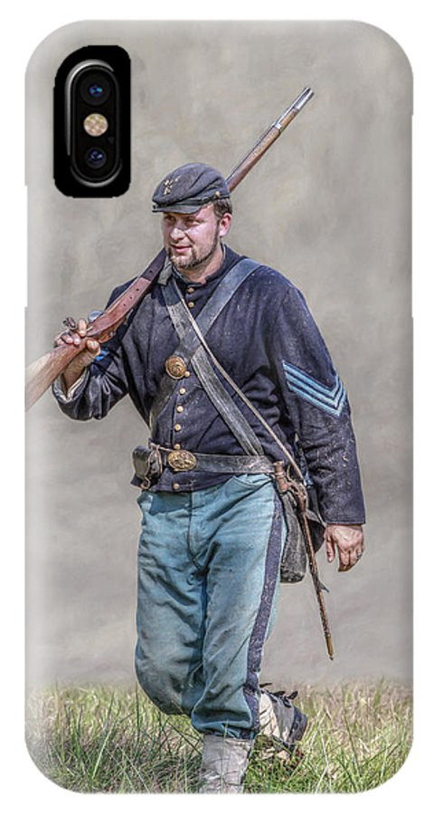 Union Infantry Sergeant Soldier IPhone X Case featuring the digital art Union Infantry Sergeant Soldier by Randy Steele