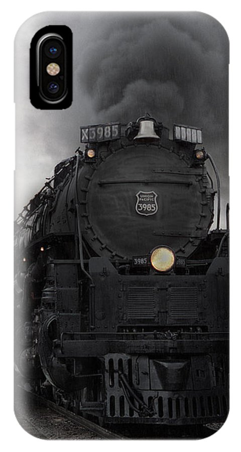 Steam IPhone X Case featuring the photograph Union Pacific 3985 by Sumi Martin