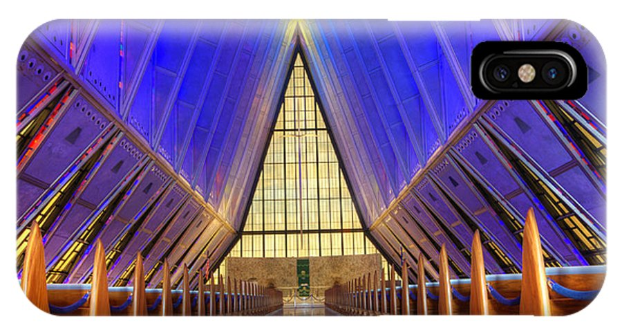 United States Air Force Academy Chapel IPhone X Case featuring the photograph United States Airforce Academy Chapel Interior by Bob Christopher