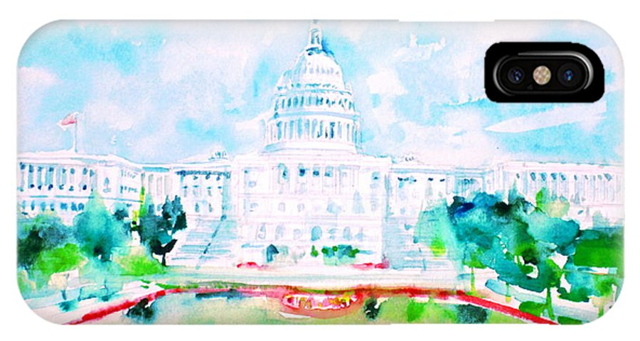United States Capitol IPhone X Case featuring the painting United States Capitol - Watercolor Portrait by Fabrizio Cassetta