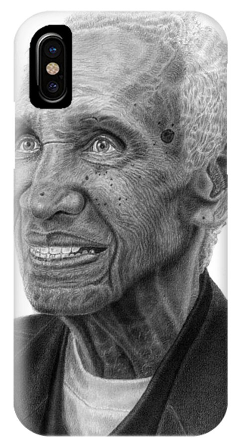 Drawing IPhone X Case featuring the drawing Unk by Marvin Lee