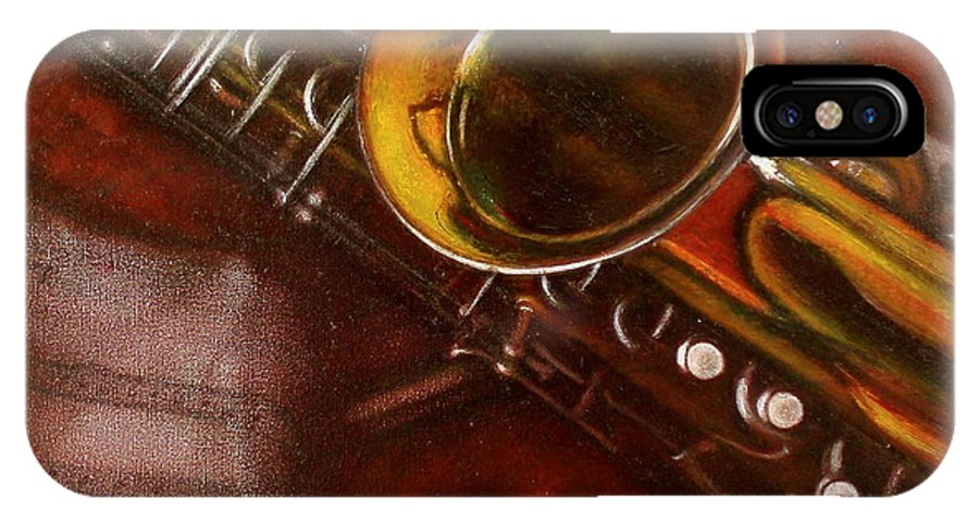 Still Life IPhone X / XS Case featuring the painting Unprotected Sax by Sean Connolly