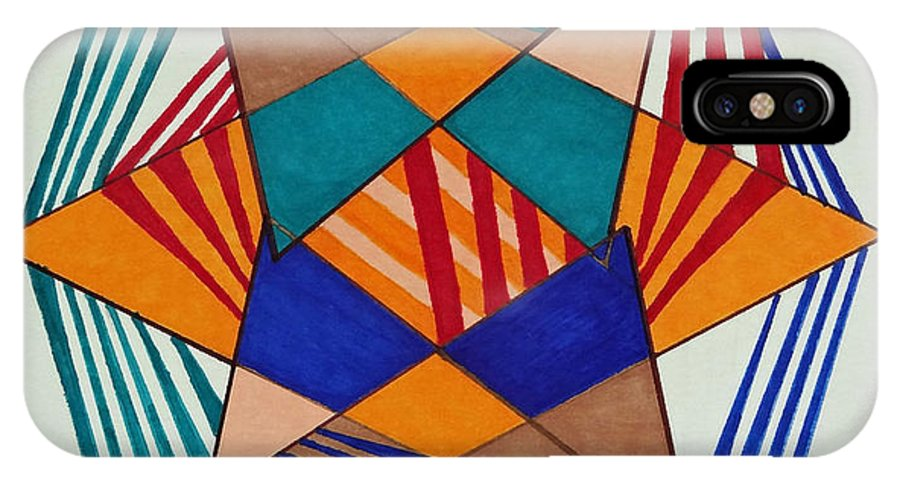 Geometrics IPhone X Case featuring the painting Unravel by Pane Reframed