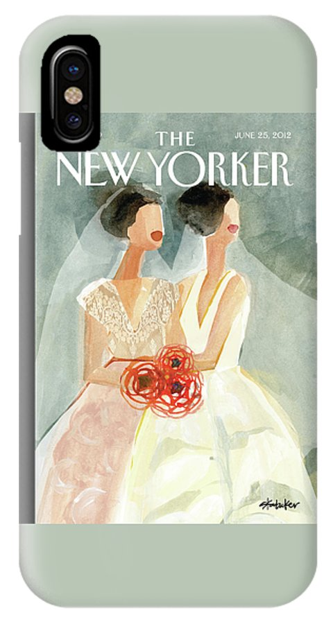 June Brides IPhone X Case featuring the painting June Brides by Gayle Kabaker