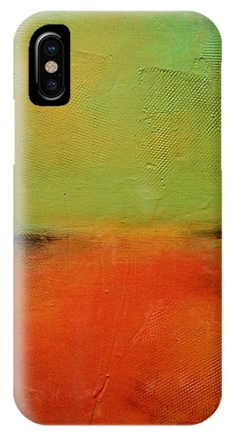 Abstract IPhone X Case featuring the painting Untitled by Liz Moran