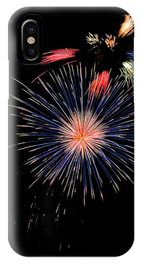 Fireworks IPhone X Case featuring the photograph Unusual Fire Works by Devinder Sangha