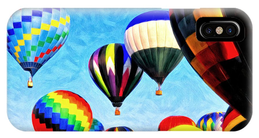 Hot Air Balloon IPhone X Case featuring the painting Up Up And Away by Michael Pickett