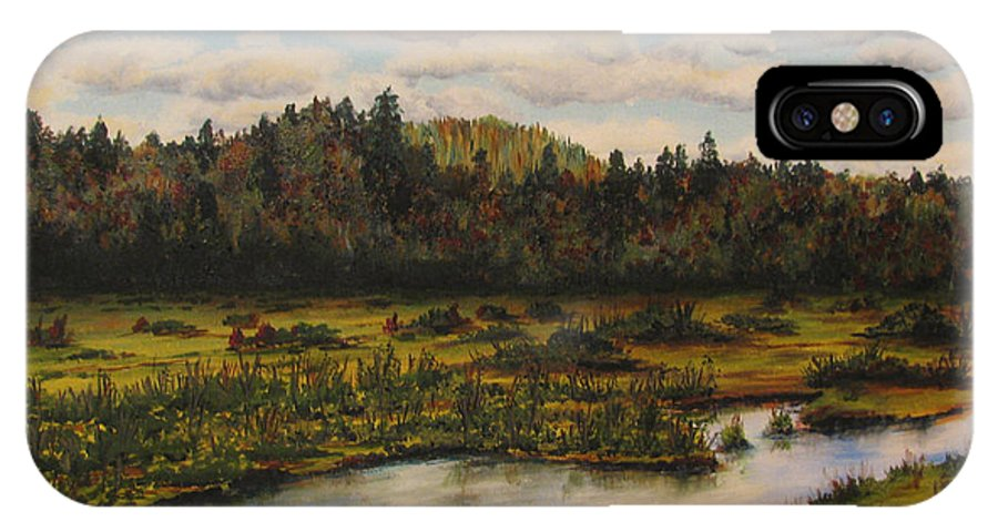 River IPhone X Case featuring the painting Upper Sacandaga River by Nancie Johnson