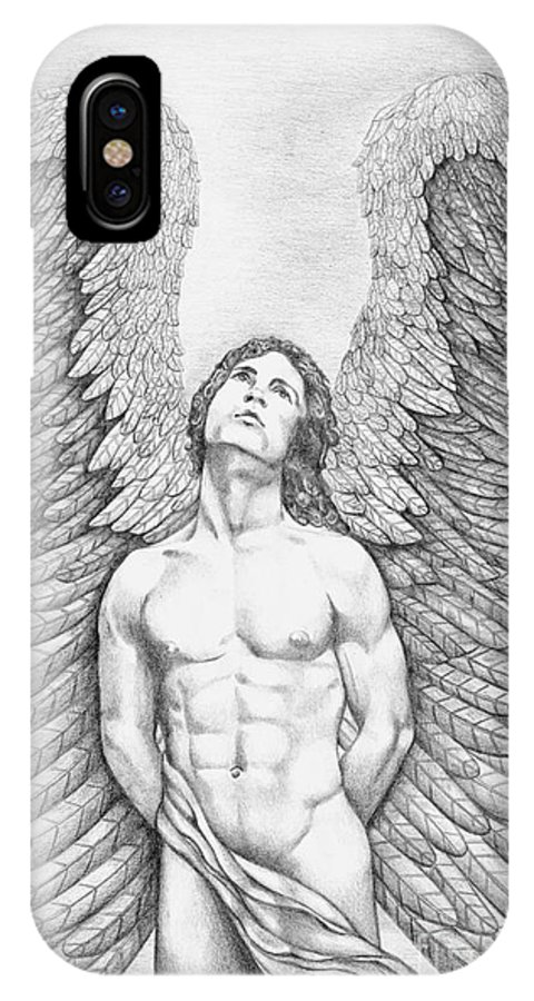 IPhone X Case featuring the drawing Upward Looking Male Angel by Dawn Rosendahl