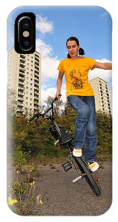 Bmx Flatland IPhone X Case featuring the photograph Urban Bmx Flatland With Monika Hinz by Matthias Hauser