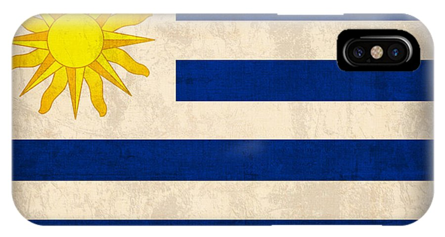 Uruguay Flag Vintage Distressed Finish IPhone X Case featuring the mixed media Uruguay Flag Vintage Distressed Finish by Design Turnpike