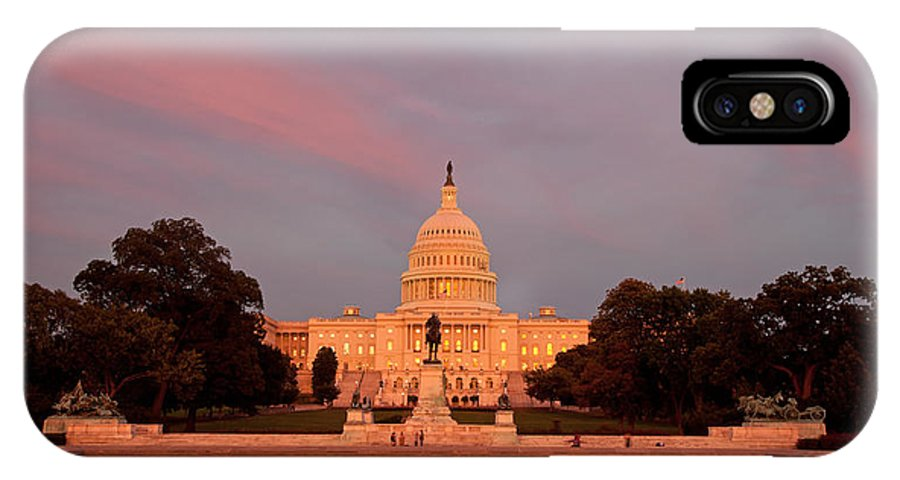Capitol IPhone X Case featuring the photograph Us Capitol At Sunset by Jack Nevitt