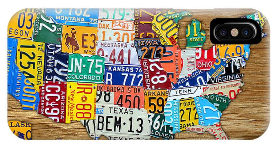 License Plate Map IPhone X Case featuring the mixed media Usa License Plate Map Car Number Tag Art On Light Brown Stained Board by Design Turnpike