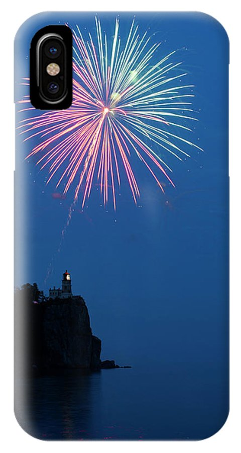Firework IPhone X Case featuring the photograph Usa, Minnesota, Two Harbors, Split Rock by Peter Hawkins