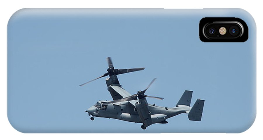 Osprey IPhone X / XS Case featuring the photograph Usmc Osprey Over New York by Christiane Schulze Art And Photography