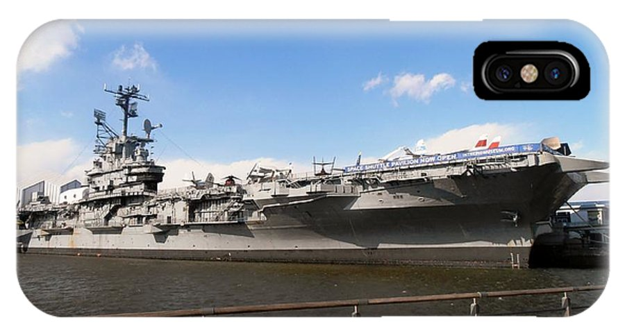 New York IPhone X Case featuring the photograph Uss Intrepid by Martin Jones