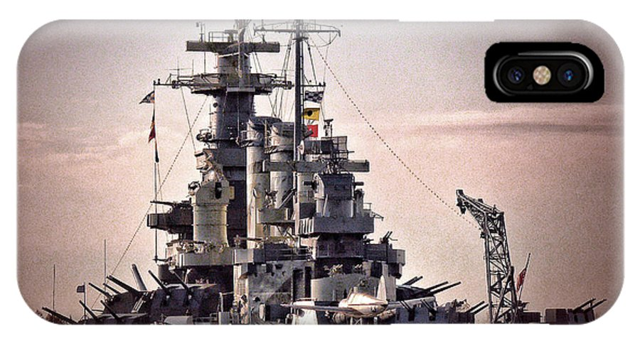 Ships IPhone X / XS Case featuring the photograph Uss North Carolina Retired by Irene Dowdy
