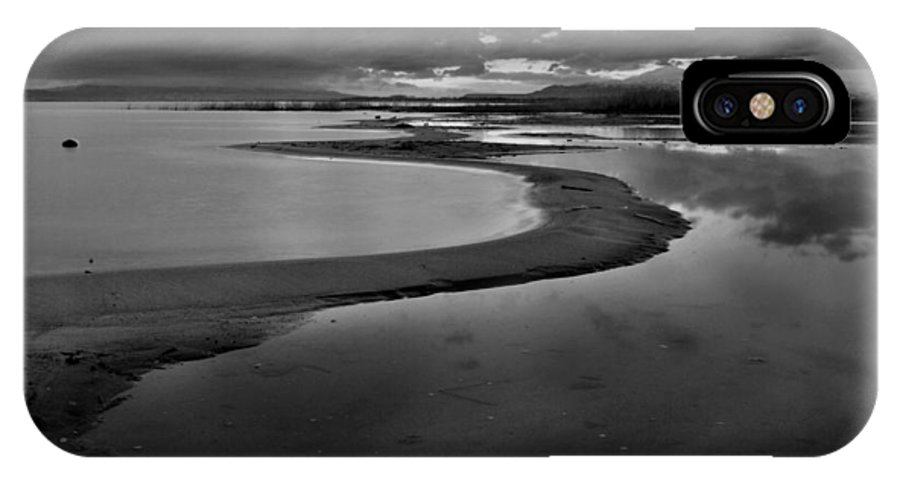 Shore IPhone X Case featuring the photograph Utah Lake Shoreline In Monochrome by Nathan Abbott