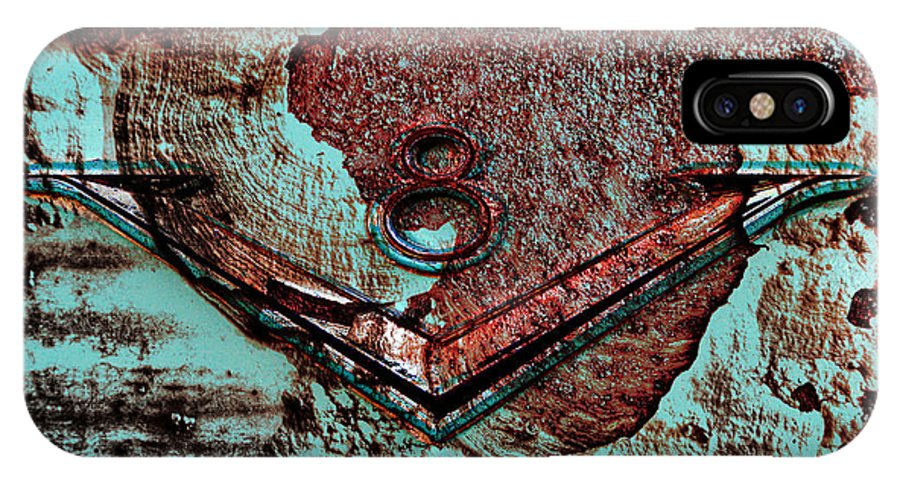 Rust IPhone X Case featuring the digital art V Eight by Greg Sharpe