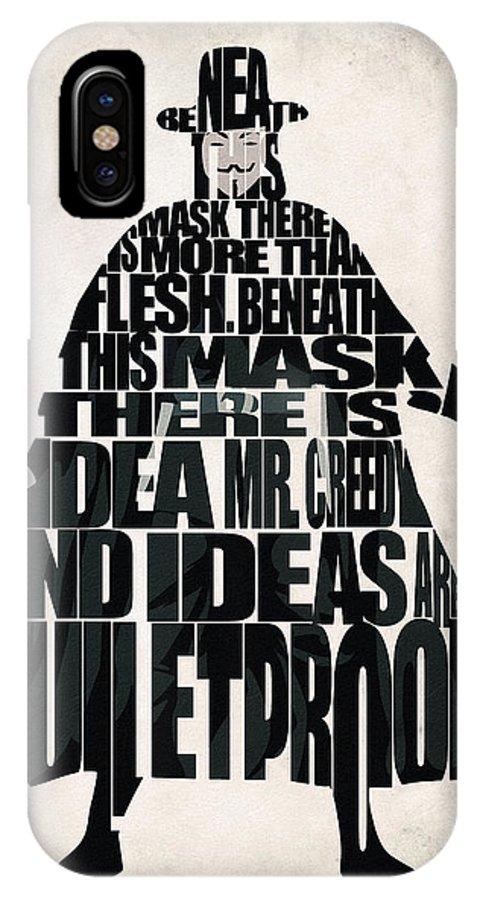 Vendetta IPhone X Case featuring the digital art V For Vendetta by Inspirowl Design