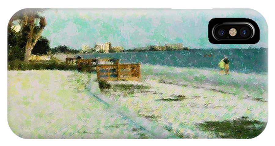 Abstract IPhone X Case featuring the mixed media Vacation Favorite by Florene Welebny